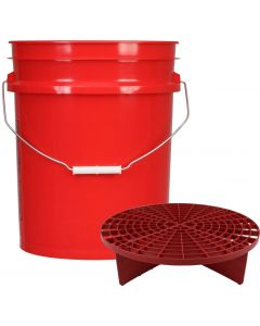 Red 5 Gallon Wash Bucket With Red Grit Guard Insert
