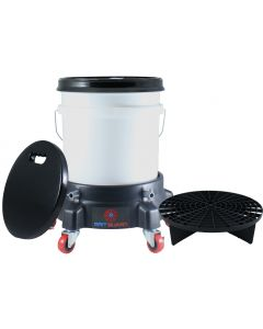 Washing System With White Bucket, Black Grit Guard Insert, Lid, Dolly and Seat