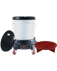 Washing System With White Bucket, Red Grit Guard Insert, Lid, Dolly and Seat