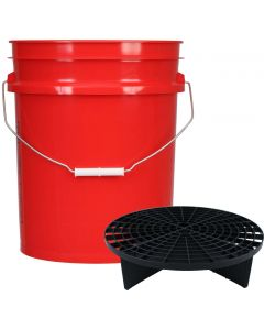 Red 5 Gallon Wash Bucket With Black Grit Guard Insert