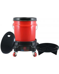 Washing System With Red Bucket, Black Grit Guard Insert, Lid, Dolly and Seat