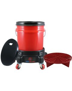 Washing System With Red Bucket, Red Grit Guard Insert, Lid, Dolly and Seat