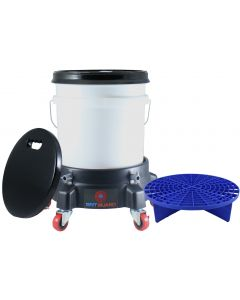 Washing System With White Bucket, Blue Grit Guard Insert, Lid, Dolly and Seat
